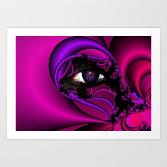Pink and Purple Fractal Eye Art Print