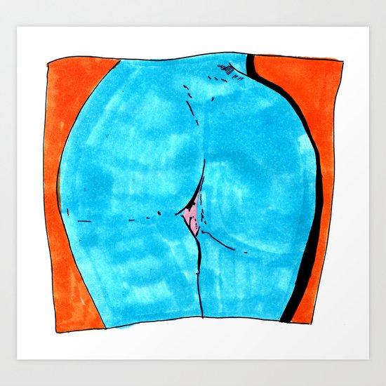 blue butt Art Print