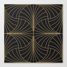 Diamond Series Inter Wave Gold on Charcoal Canvas Print