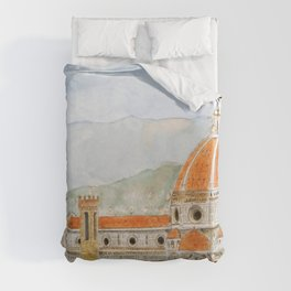 Italy Florence Cathedral Duomo watercolor painting Duvet Cover