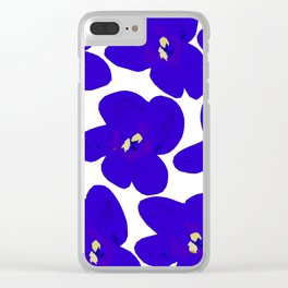 Blue Retro Flowers #decor #society6 #buyart Clear iPhone Case