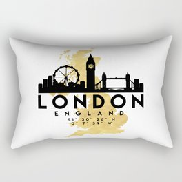 LONDON ENGLAND SILHOUETTE SKYLINE MAP ART Rectangular Pillow