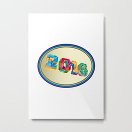New Year 2016 Oval Low Polygon Metal Print