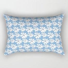 Daisies In The Summer Breeze - Blue Grey White Rectangular Pillow