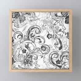 floral ornaments pattern wh Framed Mini Art Print