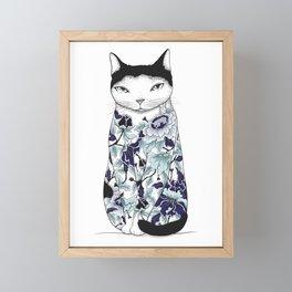 Cat in Blue Peony Tattoo Framed Mini Art Print