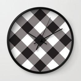 Gingham - Black Wall Clock