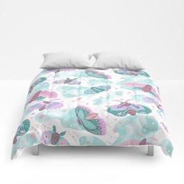 Abstract pink teal mint green cute butterflies Comforters