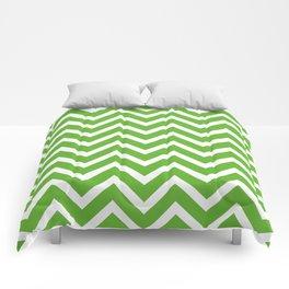 green, white zig zag pattern design Comforters