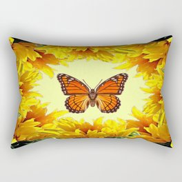 Monarch Butterfly Creany Yellow Sunflower Circle Rectangular Pillow