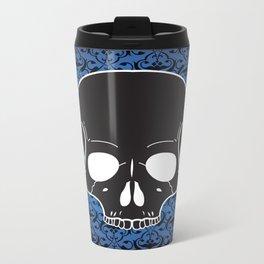 Blue Skull Metal Travel Mug