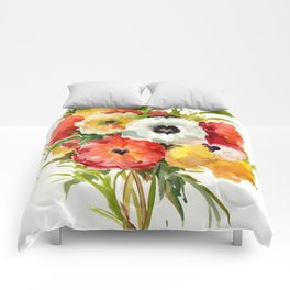 Flowers, Buttercups, orange red white yellow garden floral design Comforters