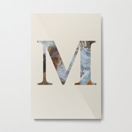 Letter 'M' Monogram with Abstract Art Metal Print