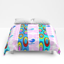 Birds and colorful trees Comforters