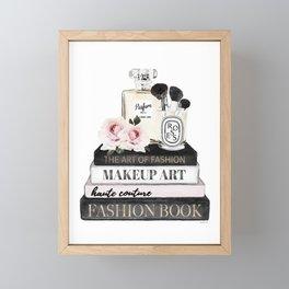 Fashion wall art, Books, Perfume, Roses, Makeup brushes, Blush, pink, Black and white, watercolor Framed Mini Art Print