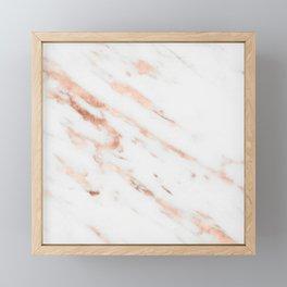 Rose Quartz Foil on Real White Marble Framed Mini Art Print