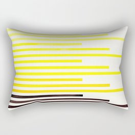 Yellow Minimalist Abstract Mid Century Modern Staggered Thin Stripes Watercolor Painting Rectangular Pillow