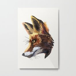 Fox watercolor painting woodland animal - foxes - animals - forest - white paper Metal Print