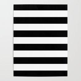 Stripe Black & White Horizontal Poster