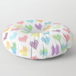 Colorful Knitted Hearts II Floor Pillow