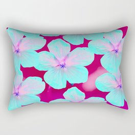 Turquoise Retro Flowers On Pink Background #decor #society6 Rectangular Pillow
