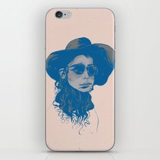 Woman in Hat and Sunglasses iPhone & iPod Skin