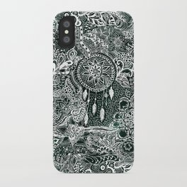 Modern dark green forest watercolor Christmas dream catcher floral doodles iPhone Case