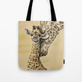 baby giraffe and mom Tote Bag
