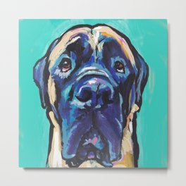 Fun ENGLISH MASTIFF Dog bright colorful Pop Art Painting by LEA Metal Print