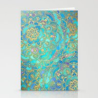 paint Stationery Cards featuring Sapphire & Jade Stained Glass Mandalas by micklyn