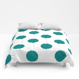 Large Polka Dots - Dark Cyan on White Comforters