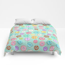 Scattered Rainbow Donuts on spotty mint - repeat pattern Comforters