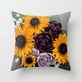 Sunflowers Roses Paper Quilled Flowers Throw Pillow