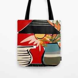 Still life with lamp and flowers Tote Bag
