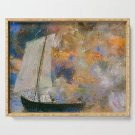 Flower Clouds - Odilon Redon Serving Tray