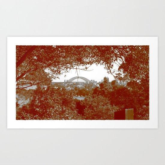 Harbour Bridge through the trees Art Print