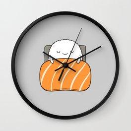 sleepy sushi Wall Clock