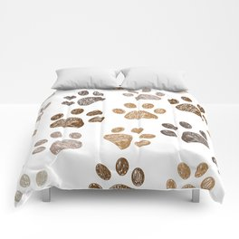 Brown colored paw print background Comforters