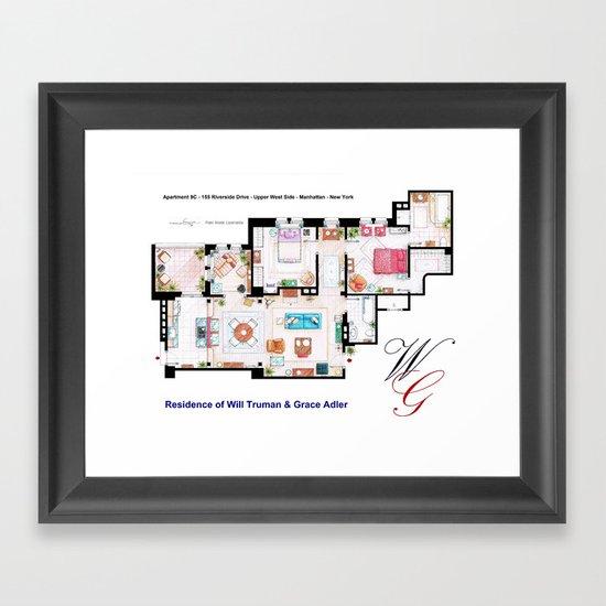Apartment of Will Truman and Grace Adler - Floorplan Framed Art Print