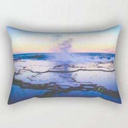 reflection of a wave crashing at sunset Rectangular Pillow