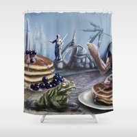 justice Shower Curtains featuring Pancake Justice by Toxic Conscience