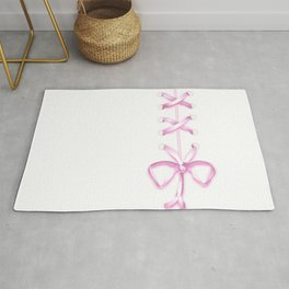 Laced Pink Ribbon on White Rug