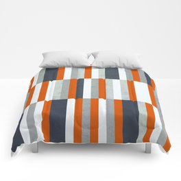 Orange, Navy Blue, Gray / Grey Stripes, Abstract Nautical Maritime Design by Comforters