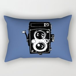 Big Vintage Camera Love - Black on Blue Background Rectangular Pillow