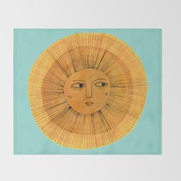 Sun Drawing - Gold and Blue Throw Blanket