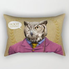 "Mr. Owl says: ""HOOT Happens!"" Rectangular Pillow"