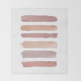 Dusty Rose Stripes Throw Blanket