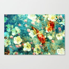 White Flowers on Turquoise Plant Canvas Print