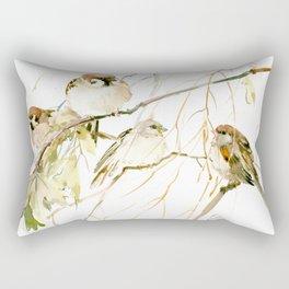 Sparrows on Tree, sparrow bird art decor brown Rectangular Pillow