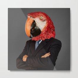 Parrot businessman Metal Print